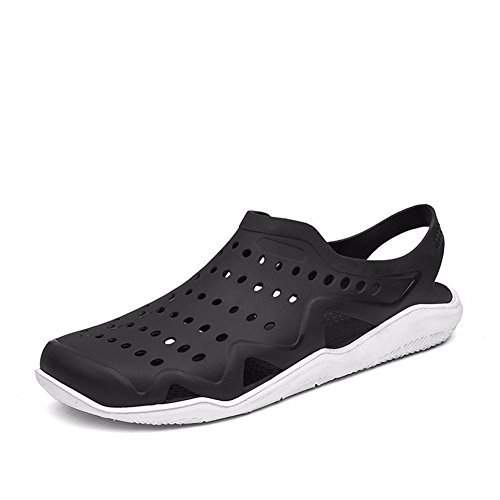 Sunny Holiday Mens Comfort Walking Water Shoes Pool Shower Saltwalter Sandals Outdoor Beach Aqua Walking Anti-Slip Clogs Shoes Black/White 6D6ppGv