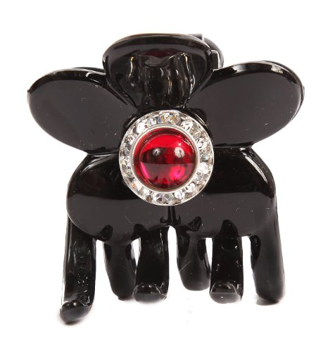 Caravan Hand Decorated Flower Shaped Hair Claw In Siam and Swarovski Crystal Stones Double Sided.65 Ounce