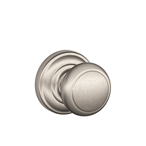 Andover Knob with Andover Trim Non-Turning Lock, Satin Nickel (F170 AND 619 AND)