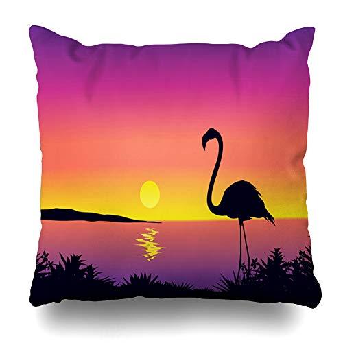 Ahawoso Throw Pillow Cover Lake Beach Flamingo Clip South Sea Africa Bay Birds California Design Plants Home Decor Cushion Case Square Size 20
