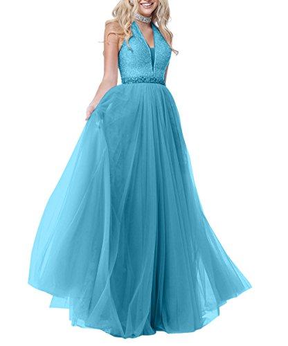 Abendkleider Tuell Promkleider La mia Pailletten Langes Brau Festlichkleider Bodenlang Ballkleider Partykleider A Linie Blau wX1Iw