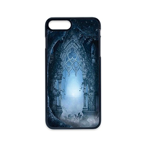Phone Case Compatible with iPhone7 plus iPhone8 plus 2D print Black edge,Fantasy House Decor,Passage Doorway Through Enchanted Foggy Magical Palace Garden Night Scenery,Navy Gray,Hard Plastic Phone Ca (Ca Palace)