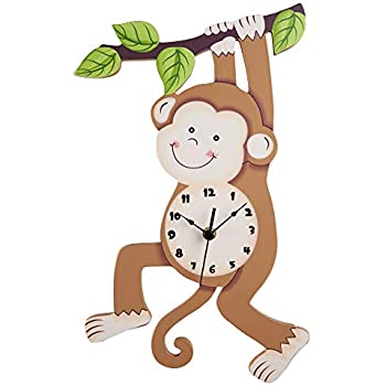 Fantasy Fields Sunny Safari Kids Wall Clock, Silent, with Decorative Water-Based Paints for Kids and Nursery, Brown/Monkey, 16