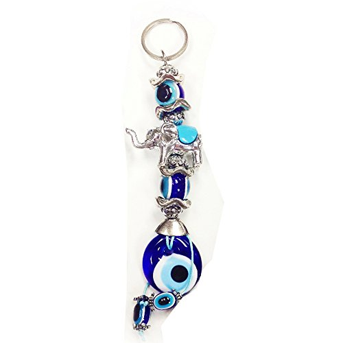 Elephants Evil (1296 Small Blue Turkish Evil Eye Elephant Keychain for Car Women for Good Luck and Protection - LuckyEye Accessory #1296)