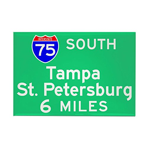 (CafePress Tampa St. Petersburg FL, Interstate 75 South Recta Rectangle Magnet, 2