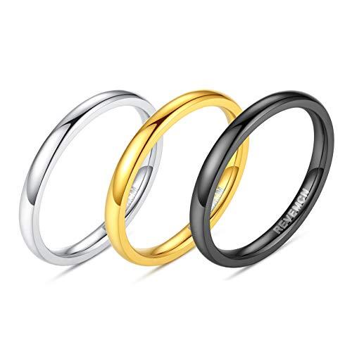 REVEMCN 2mm 3mm 4mm 5mm 6mm Stainless Steel Polished Finish Wedding Band Ring for Men Women 3 Color a Set (2mm, 7)