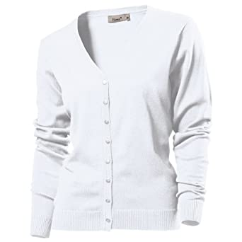 Hanes Womens/Ladies V-Neck Plain Cardigan / Knitwear (S) (White ...