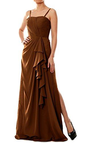 MACloth Women Spaghetti Straps Long Chiffon Bridesmaid Dress Formal Evening Gown Marrón