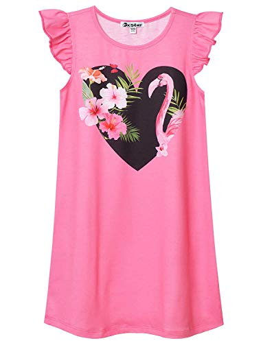 Girls Princess Nightgowns Flamingo Pajamas Flutter Sleeve Cotton Night Dresses -