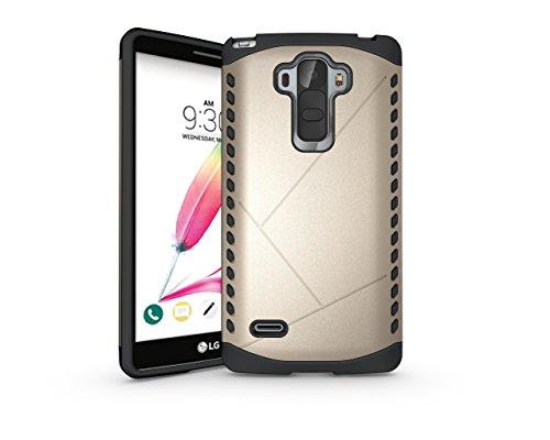 Cruzerlite LG G4 Stylus Case, Spartan Dual Layer Case Compatible with LG G4 Stylus/LG G Stylo - Retail Packaging - Gold