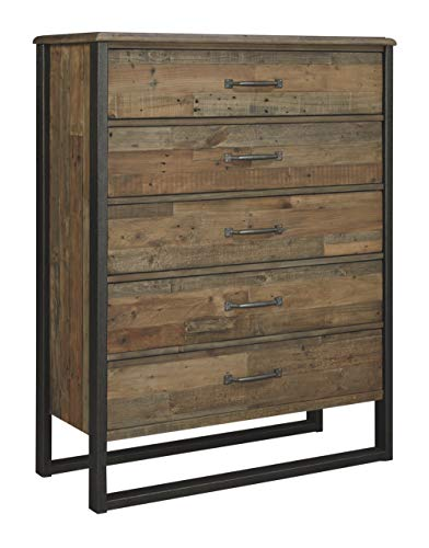 Country Five Pine Drawer Chest - Ashley Furniture Signature Design - Sommerford Chest - Casual - 5 Drawers - Light Grayish Brown Finish Reclaimed Wood - Silver/Bronze Hardware/Legs