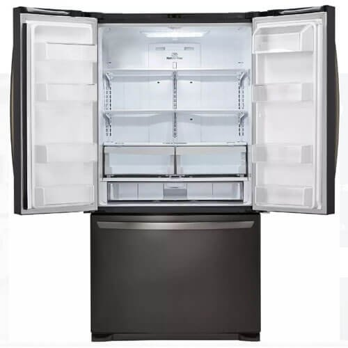 LG LFCS25426D 36'' French Door Refrigerator with 25.4 cu. ft. Total Capacity, 4 Glass Shelves, 7.8 cu. ft. Freezer Capacity, in Black Stainless Steel