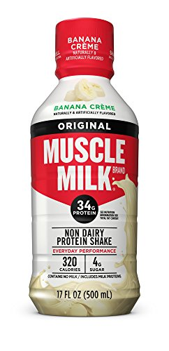 Muscle Milk Original Protein Shake, Banana Crème, 34g Protein, 17 FL OZ (Pack of 12)