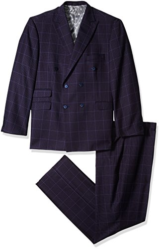 STACY ADAMS Men's Sam Big & Tall Double Breasted Suit Mini Check, Purple, 52 Long