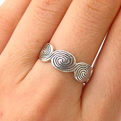 925 Sterling Silver Peter Stone Swirl Design Band Ring Size 7 1/4 Jewelry by Wholesale Charms ()