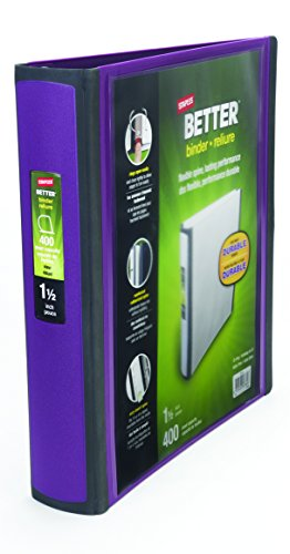 Staples Better 1.5-Inch D 3-Ring View Binder, Plum (22164-US)