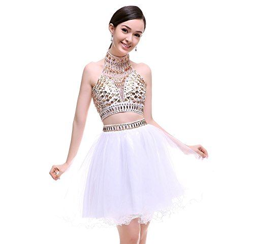 MARSEN Women's Two Pieces Halter Homecoming Short Formal Prom Dresses SH0180 White Size 6 by MARSEN