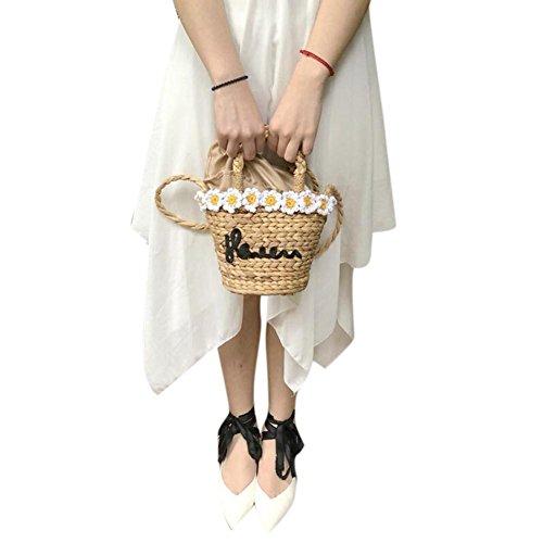 nbsp;– para vacaciones hierba regalo Verano mujer Flor Paja retro Mujer de bolsa ideal imitación viaje de nbsp;fancylande ratán playa Diseño Bolsa niña de playa de redondo bolsa 4AqA1B