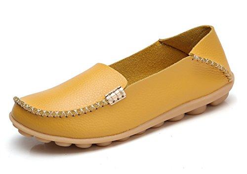 (VenusCelia Women's Natural Comfort Walking Flat Loafer(9.5 M US,Yellow))
