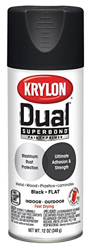 Krylon K08831001 Dual Superbond Primer Spray Paint, 12 Ounce Aerosol, Flat Black