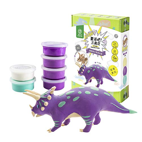 ROBUD Build Dinosaur Figure with Clay-DIY Air Dry Ultra Light Modeling Magic Clay-Creative Dino Toy Art DIY Craft Kits for Educational Learning,Best Kids Gifts Ever(Triceratops) (Best Kids Toys Ever)
