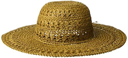 SCALA Women's Big Brim Crocheted Toyo Hat, Chestnut, One Size