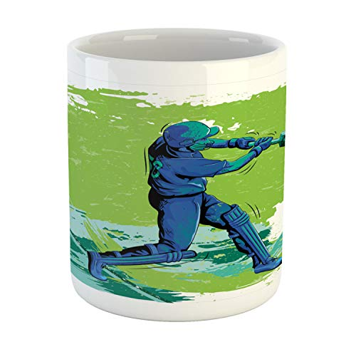 Ambesonne Sports Mug, Cricket Player Pitching Win Game Champion Team Paintbrush Effect, Printed Ceramic Coffee Mug Water Tea Drinks Cup, Navy Blue Turquoise Lime Green