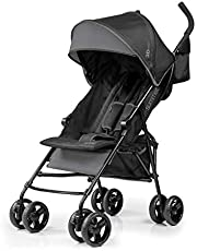 Summer Infant, 3D Mini Convenience Stroller – Lightweight Stroller with Compact Fold MultiPosition Recline Canopy with Pop Out Sun Visor and More – Umbrella Stroller for Travel and More, Gray
