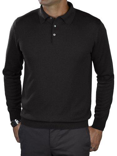 Paul Fredrick Men's Silk, Cotton, \ Cashmere Polo Collar Sweater