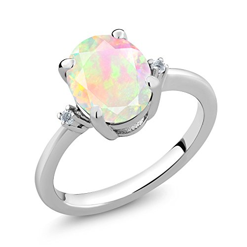 Natural White Opal Ring (1.31 Ct Oval White Opal White Topaz 925 Sterling Silver 3-Stone Women's Ring (Available in size 5, 6, 7, 8, 9))