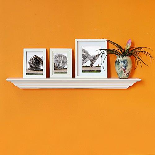 WELLAND Corona Crown Molding Wall Shelf, 36-Inch, - White Molding Wood Crown