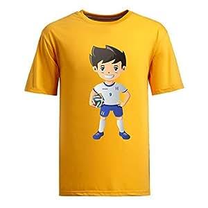 Custom Mens Cotton Short Sleeve Round Neck T-shirt,2014 Brazil FIFA World Cup UP72 yellow