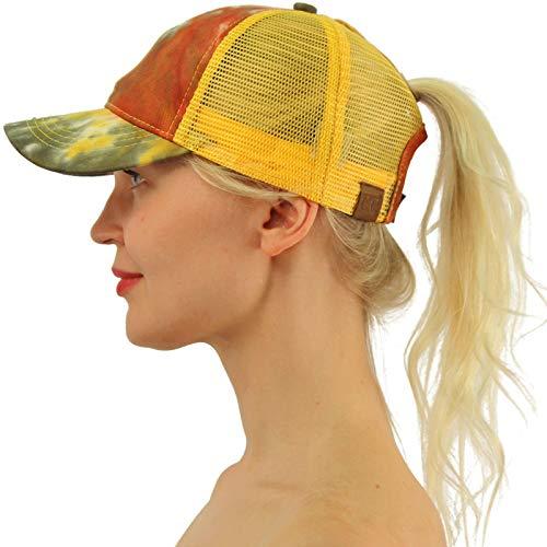 C.C Ponytail Messy Buns Trucker Ponycaps Plain Baseball Visor Cap Dad Hat Tie Dye Mustard