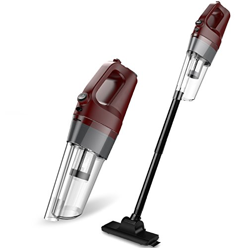 [Upgraded Version] Hand Vacuum Cordless, 80W 4.5kPa Cyclonic Suction Dust Buster Cordless Vacuum Cleaner with Bagless Stainless Steel Filter and 4000mAh Rechargeable Lithium Ion (Red)