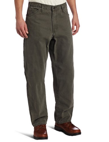 Dickies Men's Relaxed Fit Sanded Duck Carpenter Jean, Moss Green, - Moss Green Mens