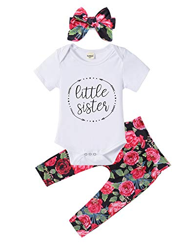Baby Girls Little Sister Romper Jumpsuit Bodysuit Tops Floral Pants Bowknot Headband Outfits Set (0-6 Months, Style 1)