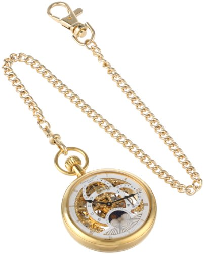 Watch Stainless 14k Pocket Steel - Charles-Hubert, Paris Gold-Plated Dual Time Mechanical Pocket Watch