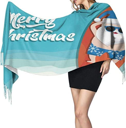 Wickelschal Große Schals Fransenschal Santo Claus On The Beach Long Blanket Scarf For Women, Fashion Tassel Shawls Wraps Scarf, Soft Cashmere Feeling Warm Winter