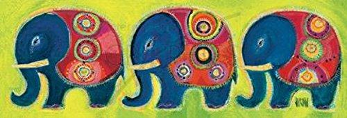 Posters: Sophie Jourdan Poster Art Print - Famille Eléphants En Vert (24 x 8 inches)