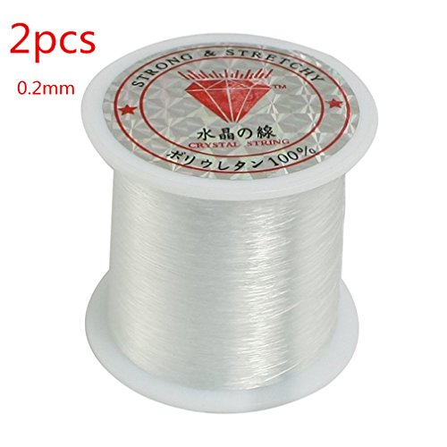 2PCS 0.2mm Fishing Line Clear Nylon Fish Fishing Line Spool Beading String Jewelry Beading Thread for DIY Crafting by TheBigThumb
