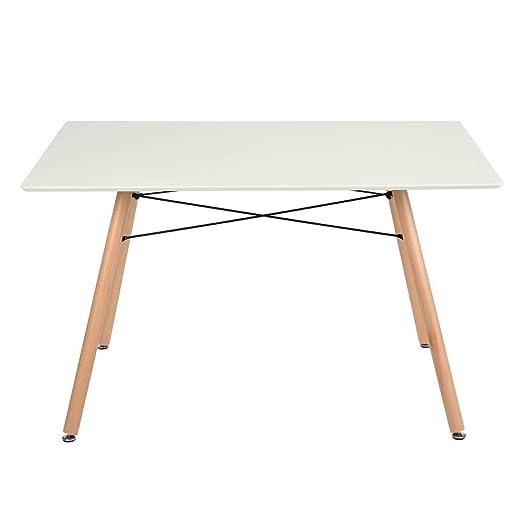 Bakaji - Mesa de comedor moderno 120 x 80 cm - Diseño retro ...