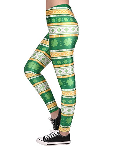 (HDE Women Shamrock Leggings St Patricks Day Leggings for Women Size)