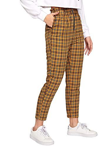 WDIRARA Women's Elastic Waist Plaid Print Pants Soft Printed Fashion Leggings Ginger S