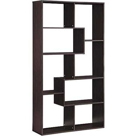 Mainstay` 8-Shelf Home Bookcase in Brown Finish