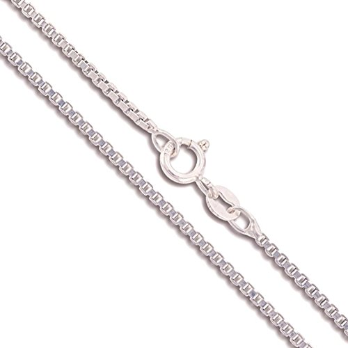 (Sterling Silver Box Chain 1.5mm Genuine Solid 925 Italy Classic New Necklace 28