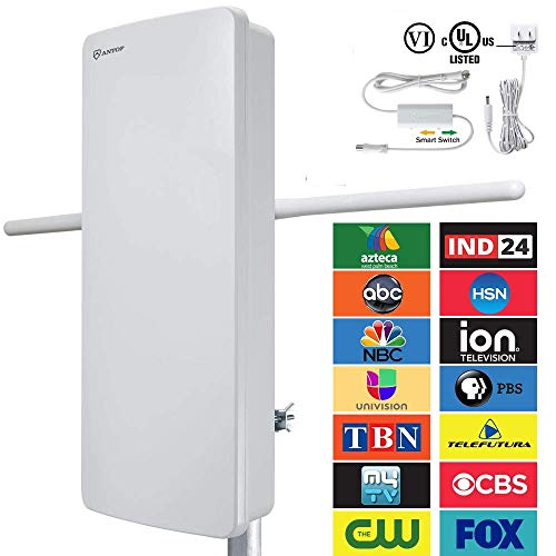 - ANTOP Outdoor TV Antenna, AT-400BV Flat Pannel VHF Enhanced HDTV Antenna with Noise-Free 4G Filter and Smartpass Amplified 70 Miles Multi-Directional Reception, 39ft Detachable Coaxial Cable, Waterpro