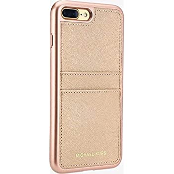 Michael Kors Saffiano Leather Pocket Case w ID Holder for iPhone 8 Plus7 Plus Rose Gold