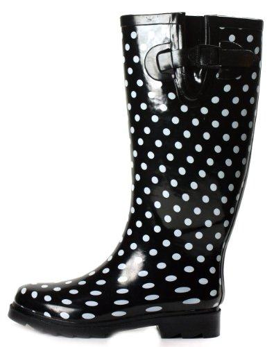 Amazon.com | OwnShoe Polka Dot Rain Boots Black Knee High Womens ...