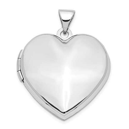 Jewelry Pendants & Charms Lockets 14k White Gold 21mm Heart Plain Domed Family Locket