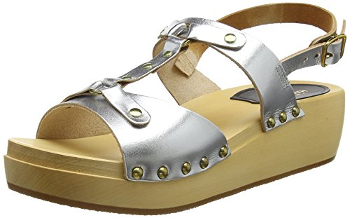 Swedish Hasbeens Rivet Sandal, Zoccoli Donna Argento (Silver Silver)